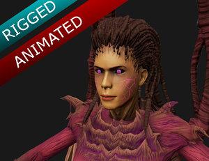 kerrigan starcraft rigged animations 3D model