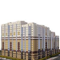 3D modern apartment building residential model