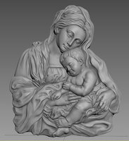 Virgin Mary and Baby Jesus 3D Highly Detailed Bas Relief 3D Printing Model