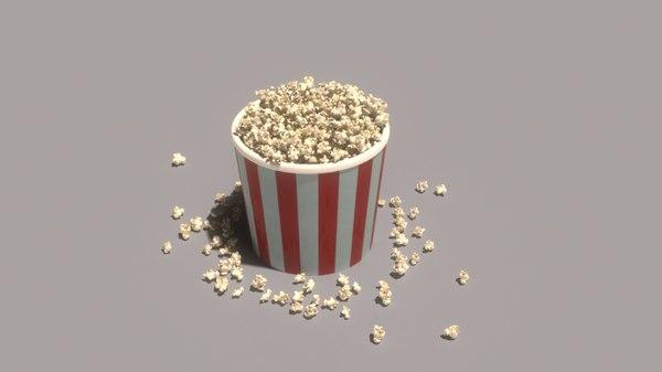 bursting popcorns 3D model