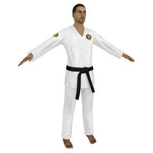 3D jiu jitsu martial artist model