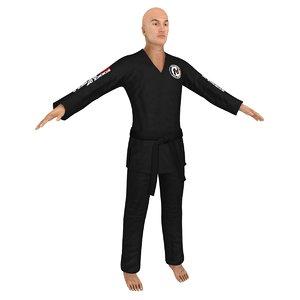 jiu jitsu martial artist 3D model