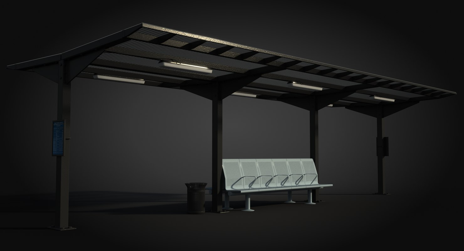 3D model waiting shelter