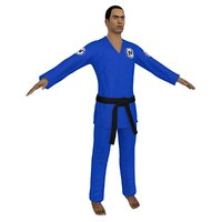 jiu jitsu martial artist 3D model