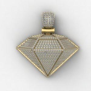 3D heavy diamond pendent necklace model