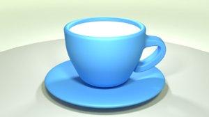 3D model cup-plate rendering