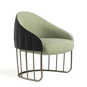 tonella fabric armchair 3D model