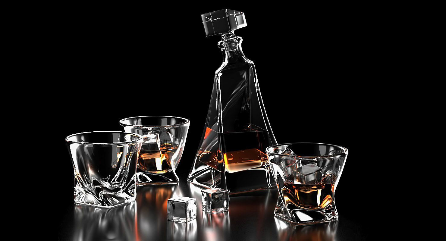 realistic whiskey glass ice 3D model