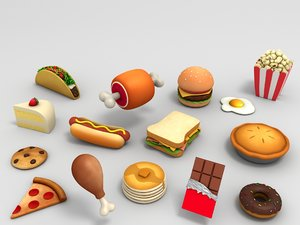 3D model cartoon food pack