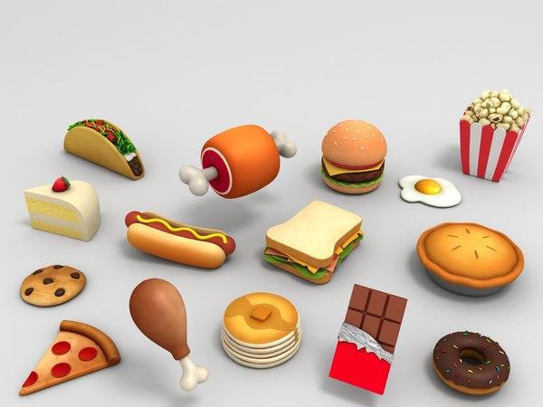 3D model cartoon food pack
