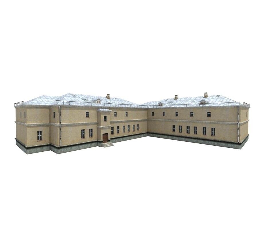hospital building old 3D model