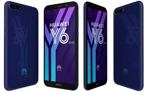 huawei y6 2018 blue 3D model