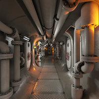 3D model submarine corridor