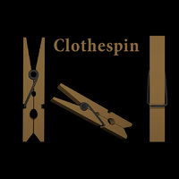 3D clothespin pin clothes