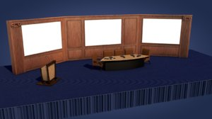 3D stage wood paneling model
