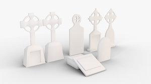 3D tombstone set model