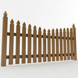3D model gothic spaced picket fence