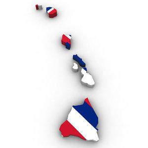 3D political hawaii model