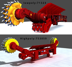 3D coal mining machine model