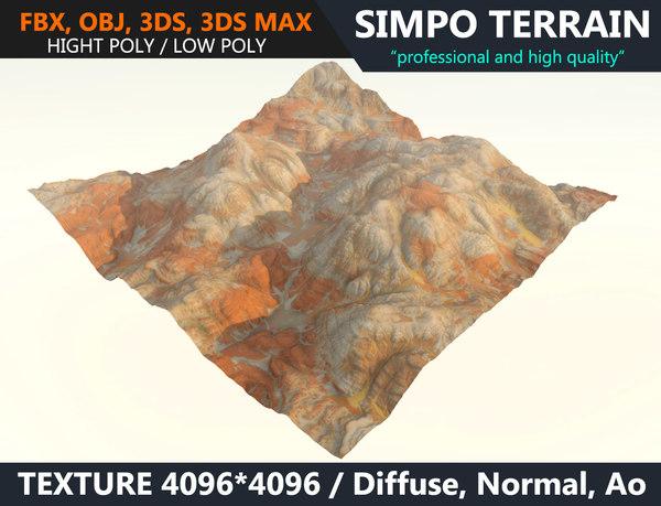 3D desert terrain model