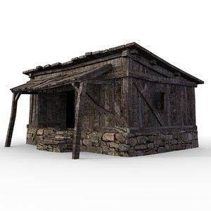 3D medieval wood shack