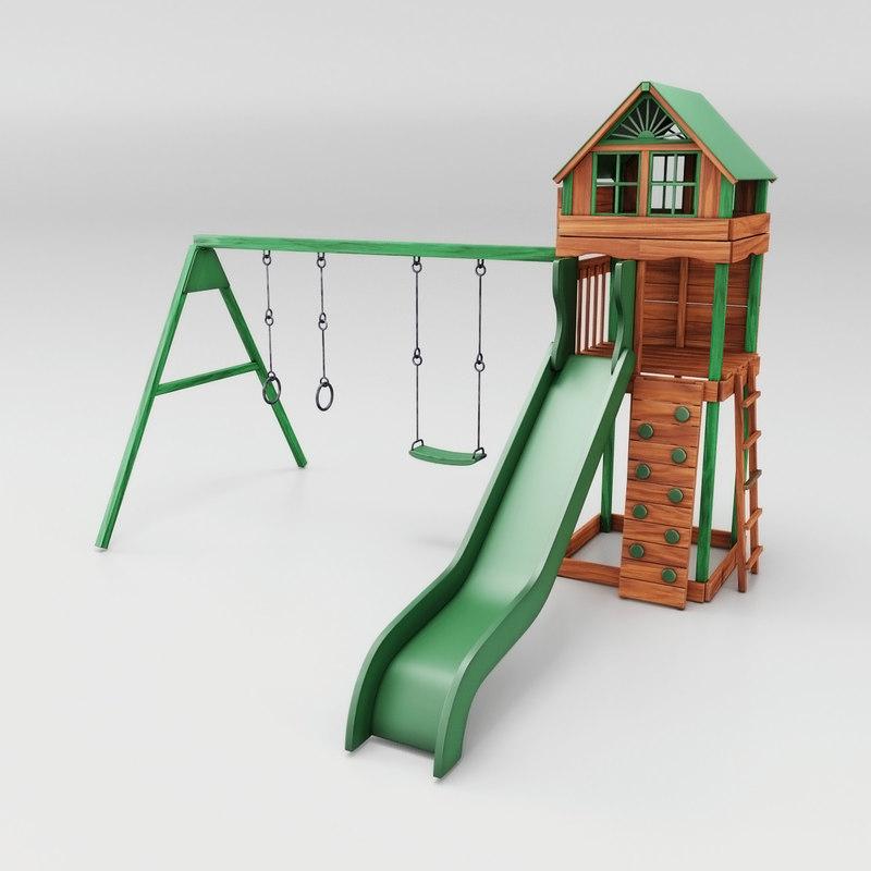 3D model cheerful slide