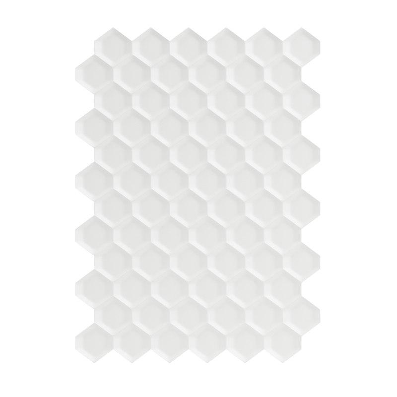 white hexagonal wall panel 3D model