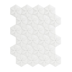 white flower decor wall panel 3D model