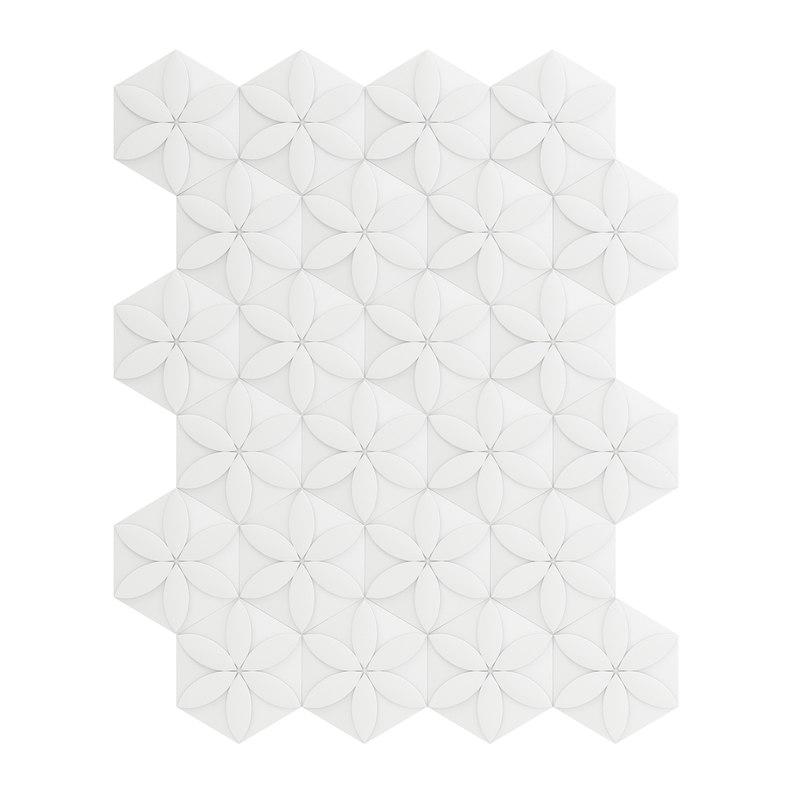 white flower decor wall panel 3D model