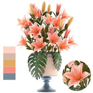3D bouquet pink lilies