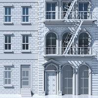 3D tenement building facade