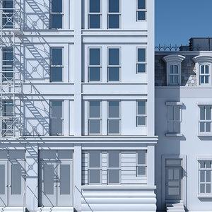 tenement building facade 3D model