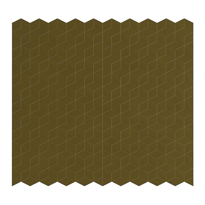 3D golden metal wall