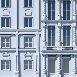 3D model tenement building facade 03