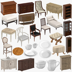 classical furniture 01 3D model