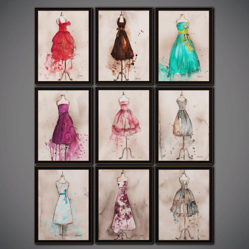 3D illustrations champagne dress