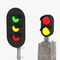 3D railroad signal lights model
