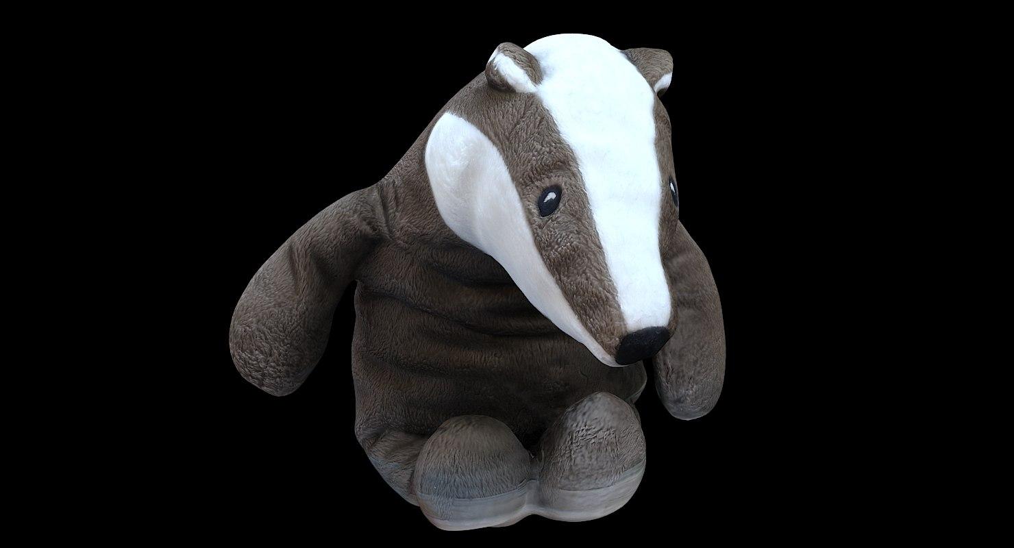 3D model scan plush badger