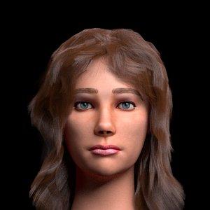 3D female head charlotte model