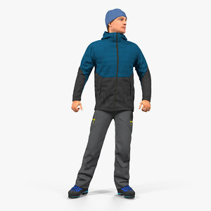3D winter men sportswear rigged