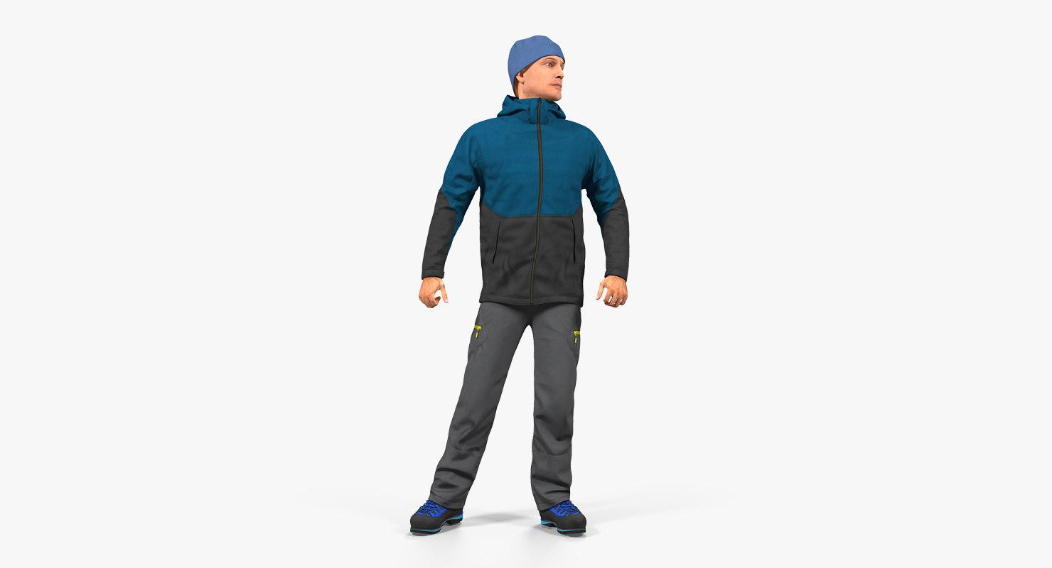 3D winter men sportswear rigged