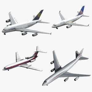 3D 4 passenger airliners