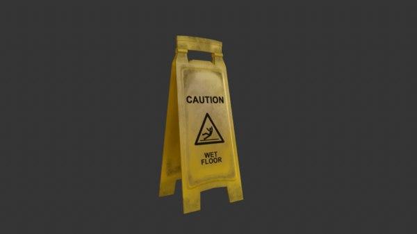 caution wet floor sign 3D