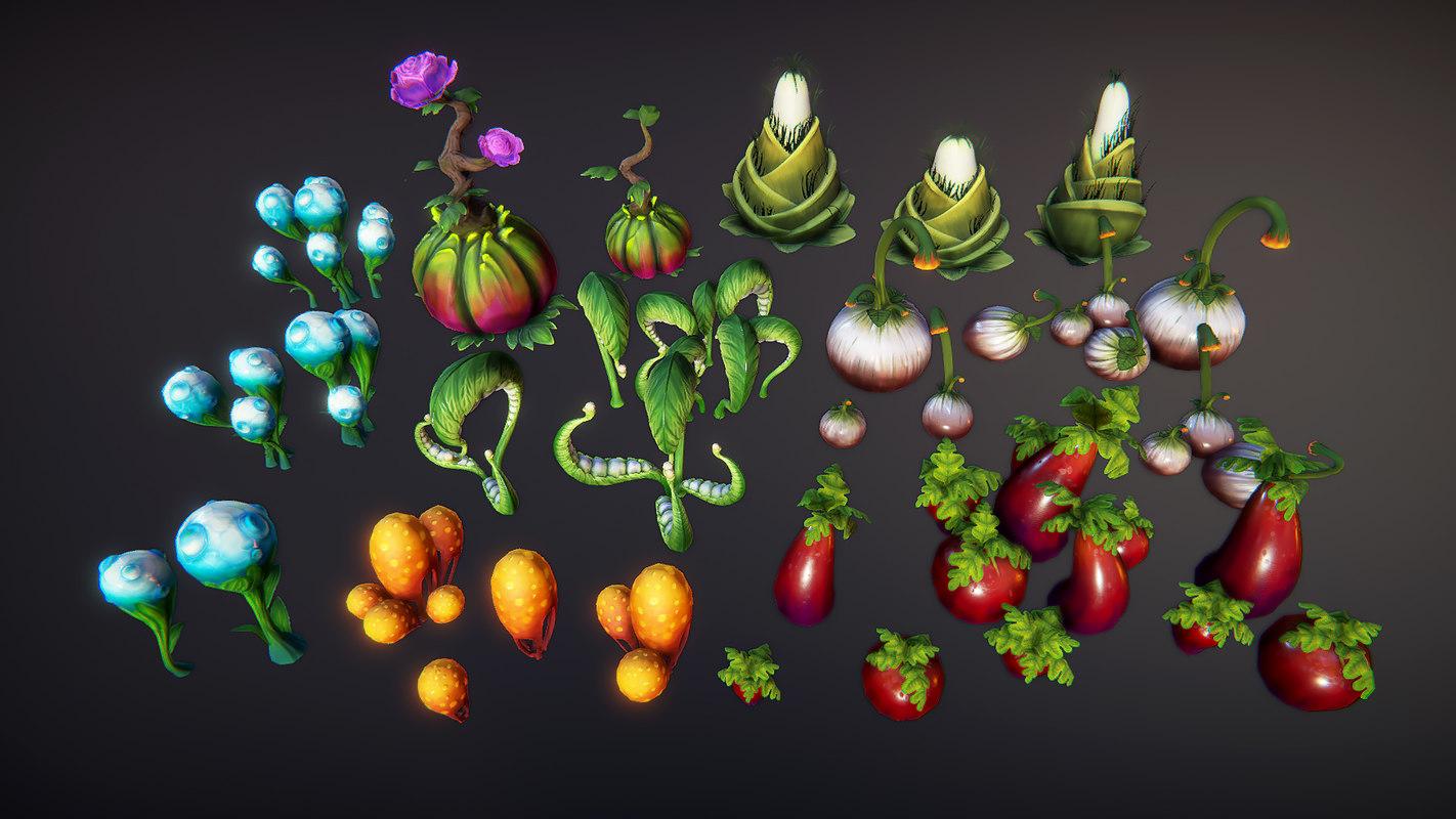 3D fantasy plants 2 model