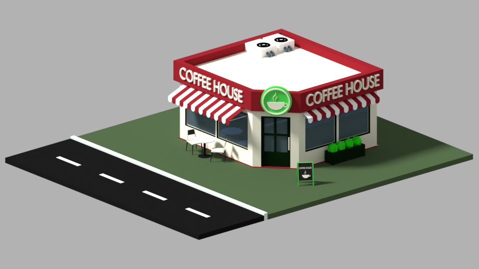 3D coffee house blender