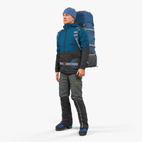 Winter Hiking Clothes Man with Backpack Rigged