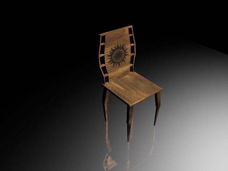 chair wood wooden 3D model