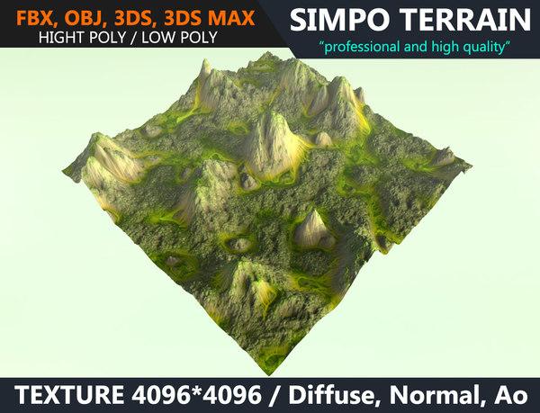 3D realistic terrain polys games model