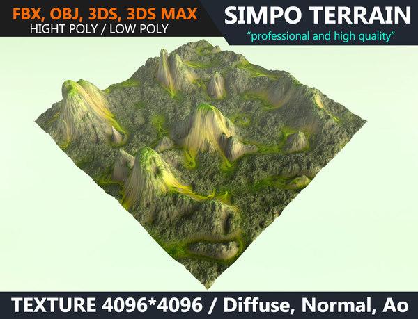 realistic terrain polys games model
