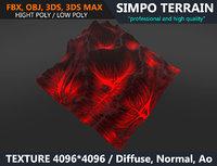 3D model terrain volcano